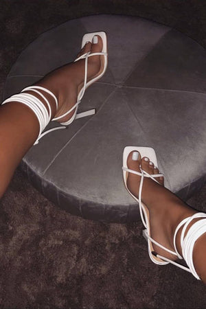 White Faux Leather Strappy Lace Up Square Toe Heels