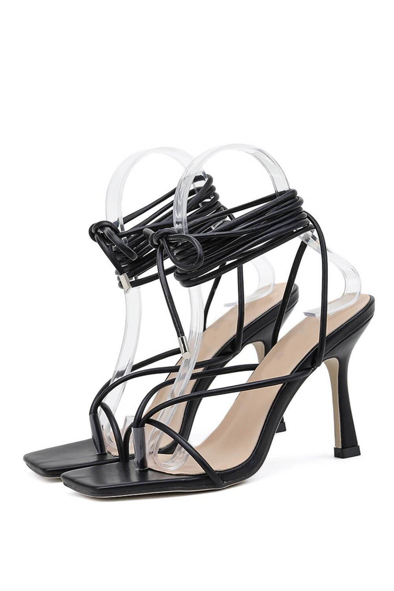 Black Faux Leather Strappy Lace Up Square Toe Heels