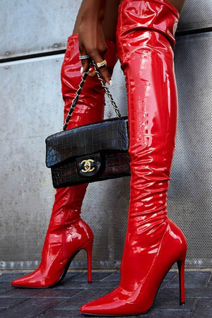 Red Patent Stiletto Heeled Over The Knee Pu Boot