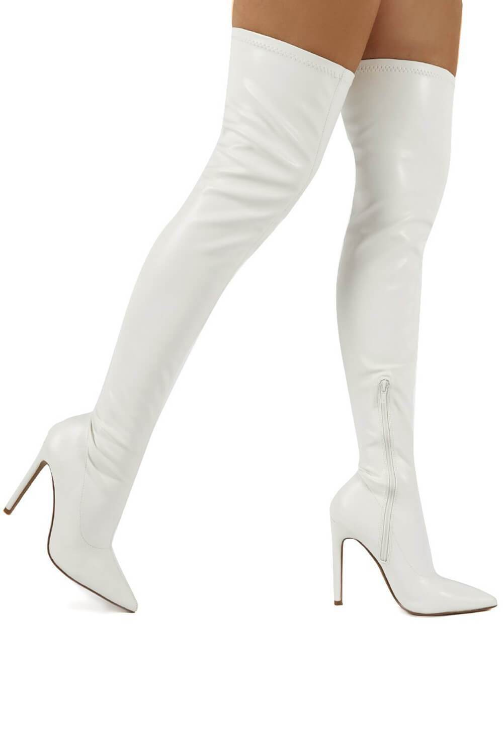 White Patent Stiletto Heeled Over The Knee Pu Boot