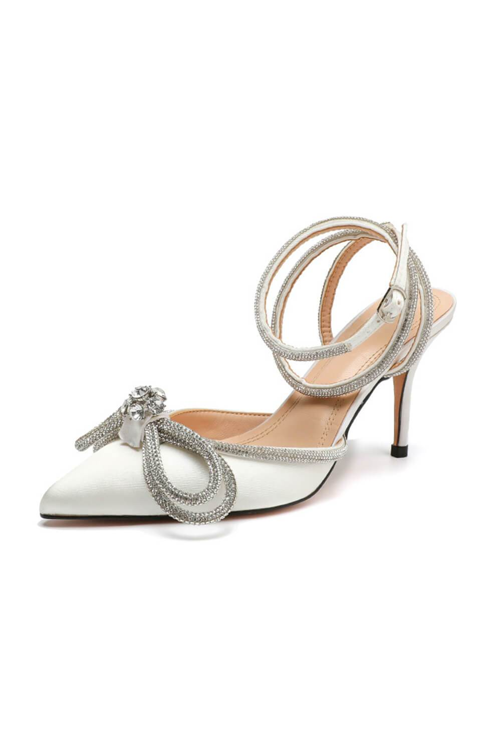 White Wrap Around Diamante Bow High Heel