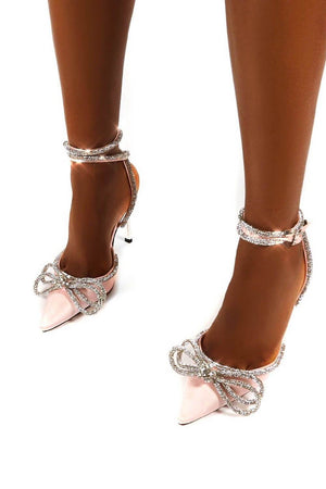 Pink Wrap Around Diamante Bow High Heel