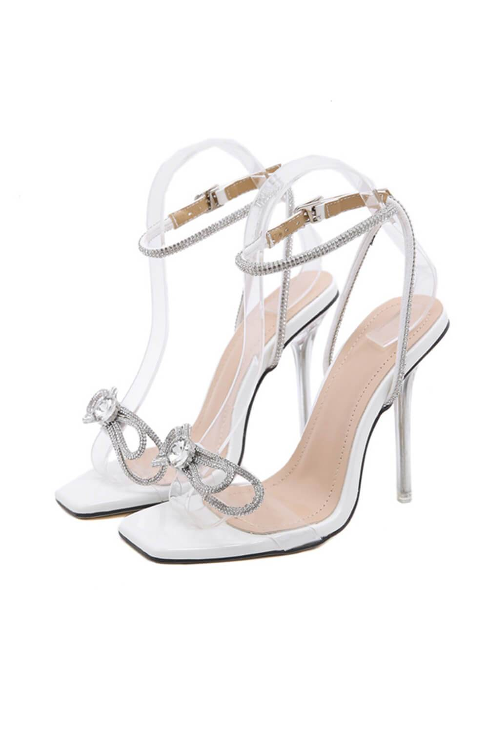 White Patent Diamante Bow Detail Square Toe Clear Perspex Heel