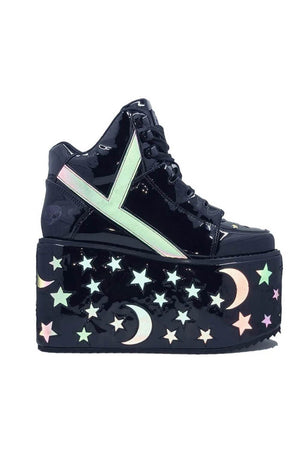 Black Reflective Moon And Star Lace Up Platform Sneakers