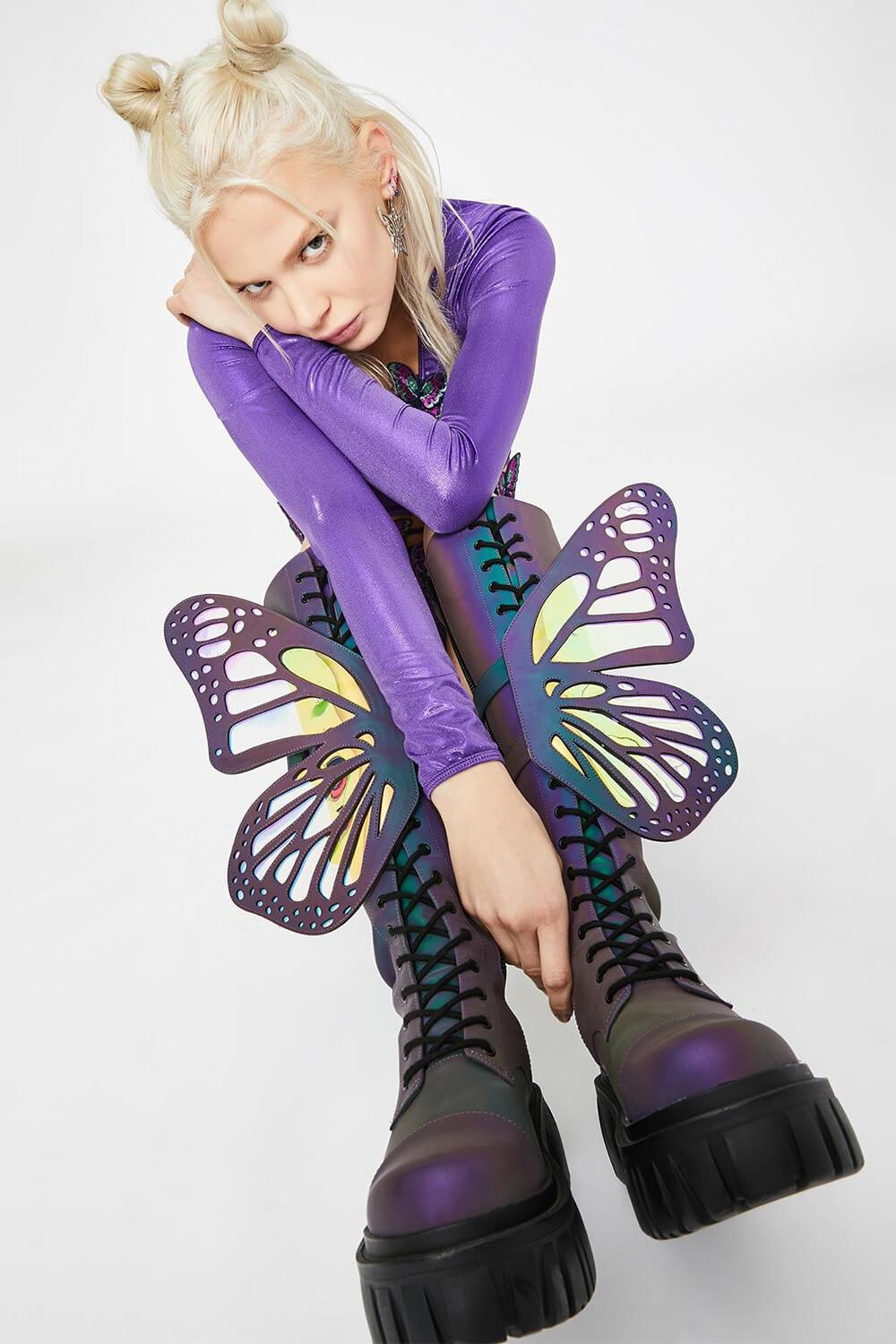 Holographic Rainbow Reflective Lace Up Knee High Combat Boots With Butterfly Wings