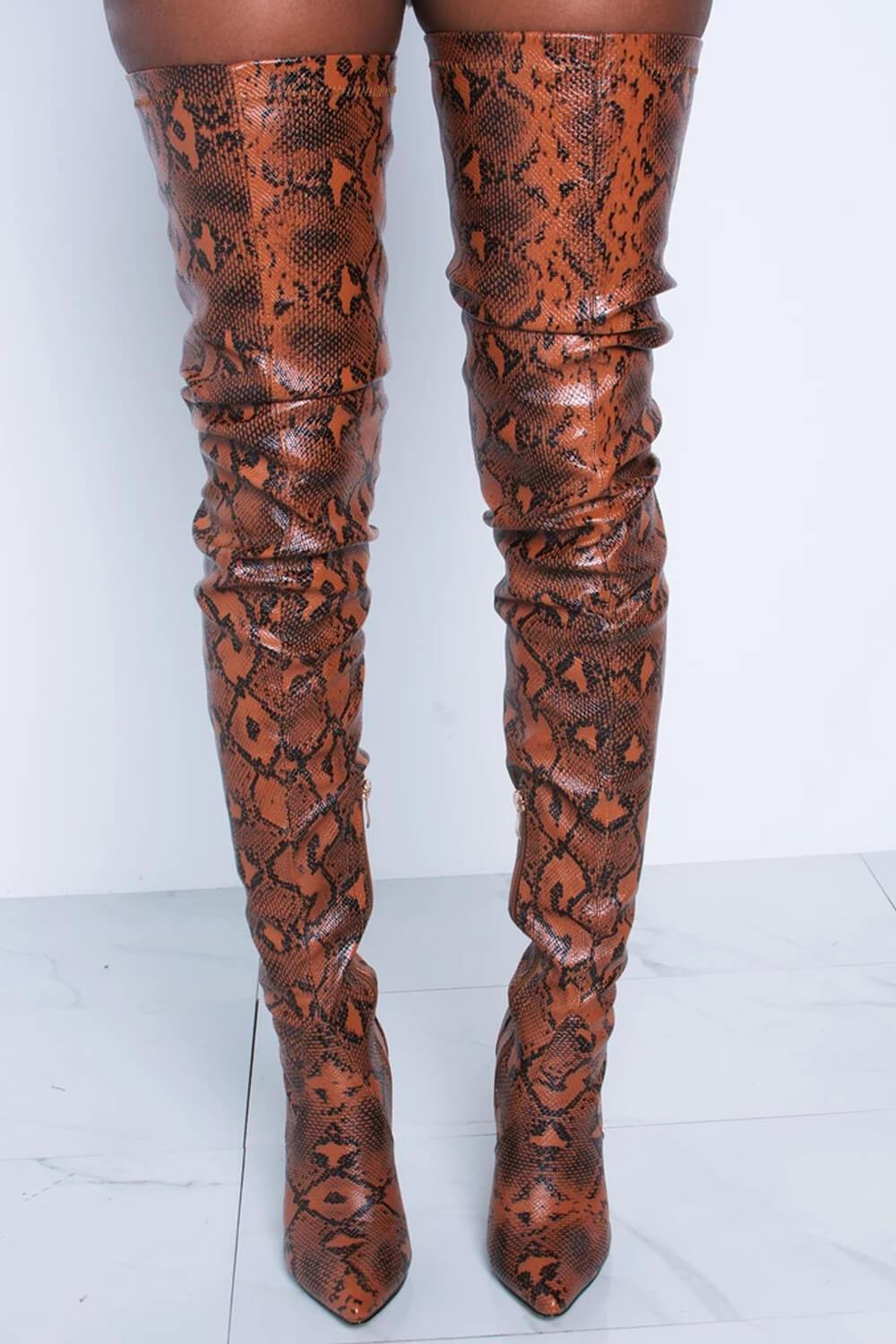 Orangered Snake Print Stiletto Thigh High Boots (2335401017403)