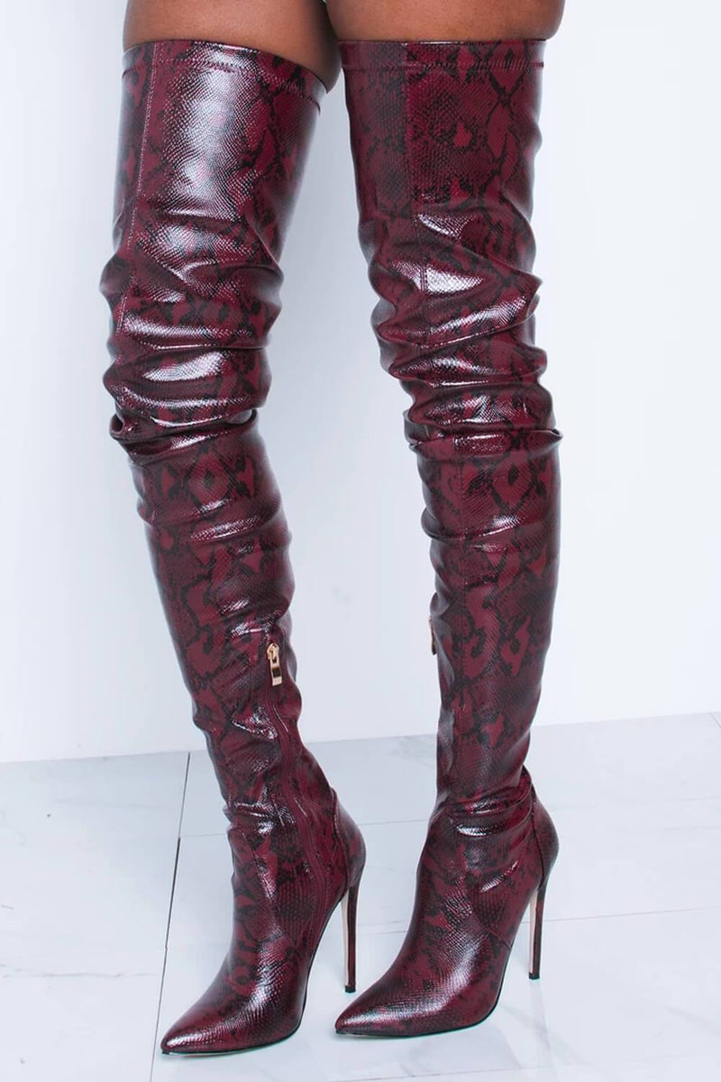 Firebrick Snake Print Stiletto Thigh High Boots (2335400951867)