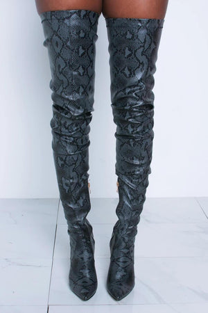 Darkgray Snake Print Stiletto Thigh High Boots (2335400886331)