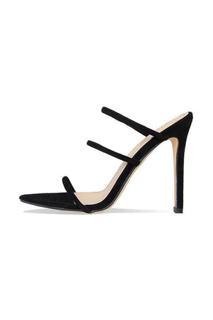 Black Strappy High Heeled Mules (2335400591419)