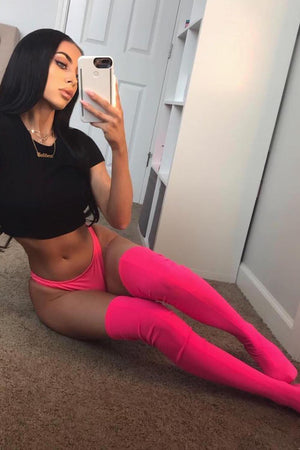 Neon Pink Thigh High Boots (2335400525883)