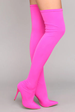 Neon Pink Thigh High Boots