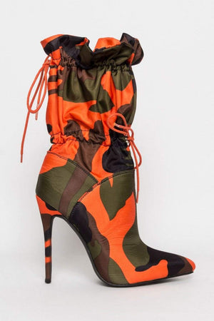 Camouflage Toggle Pointed Stiletto Heeled Boots (2335400198203)