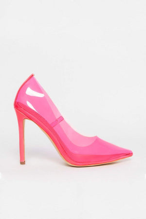Neon Pink Clear Court Shoes