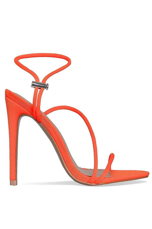 Neon Orange Strappy Toggle Detail Heeled Sandals (2335399313467)