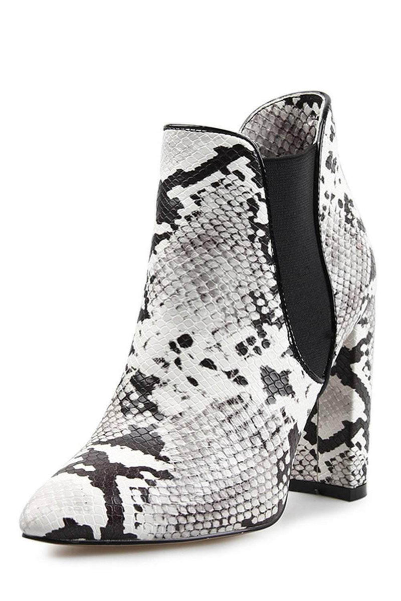 White Snake Block Heeled Ankle Boots (2335398035515)