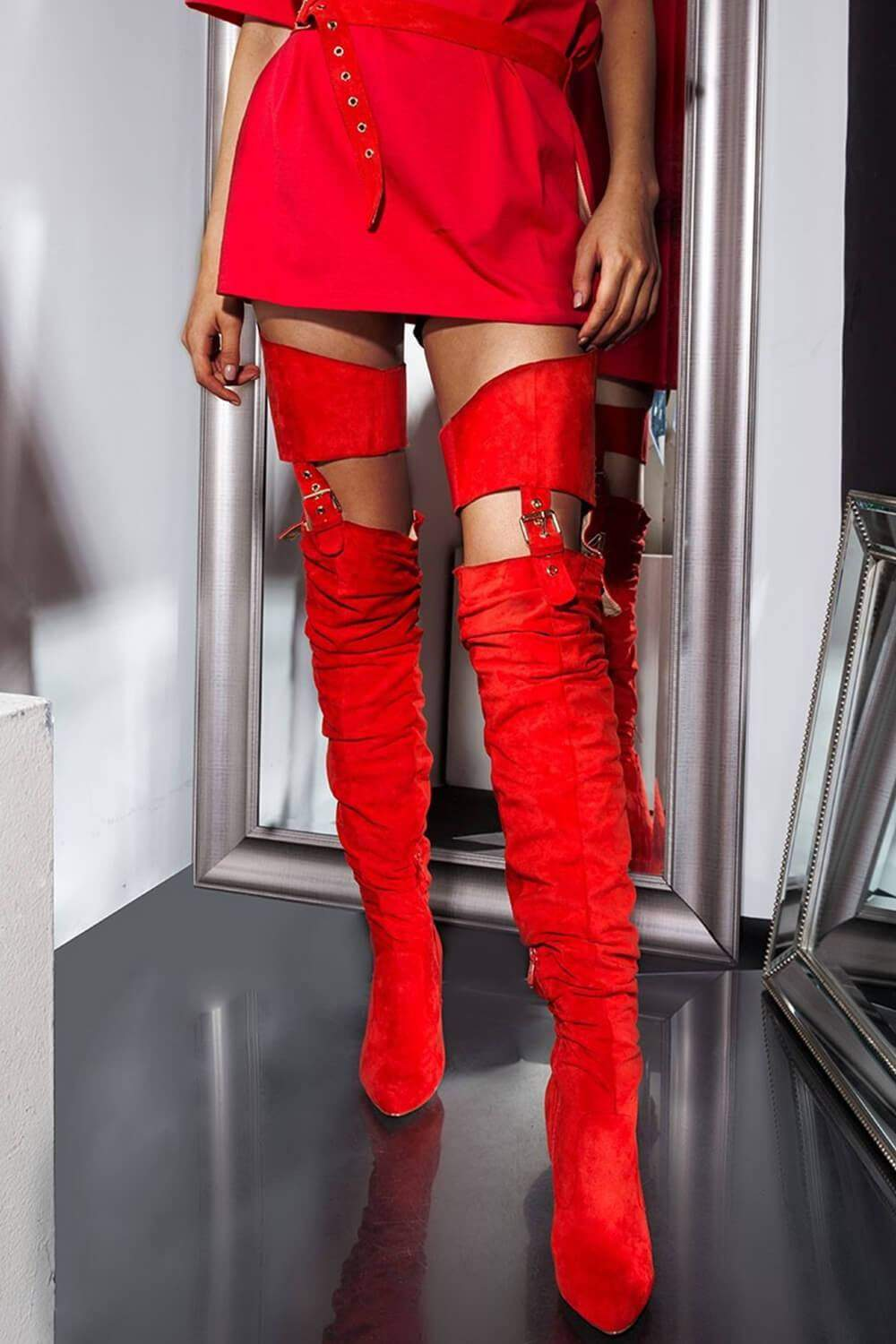 Red Suede Belted Thigh High Boots (2335396331579)
