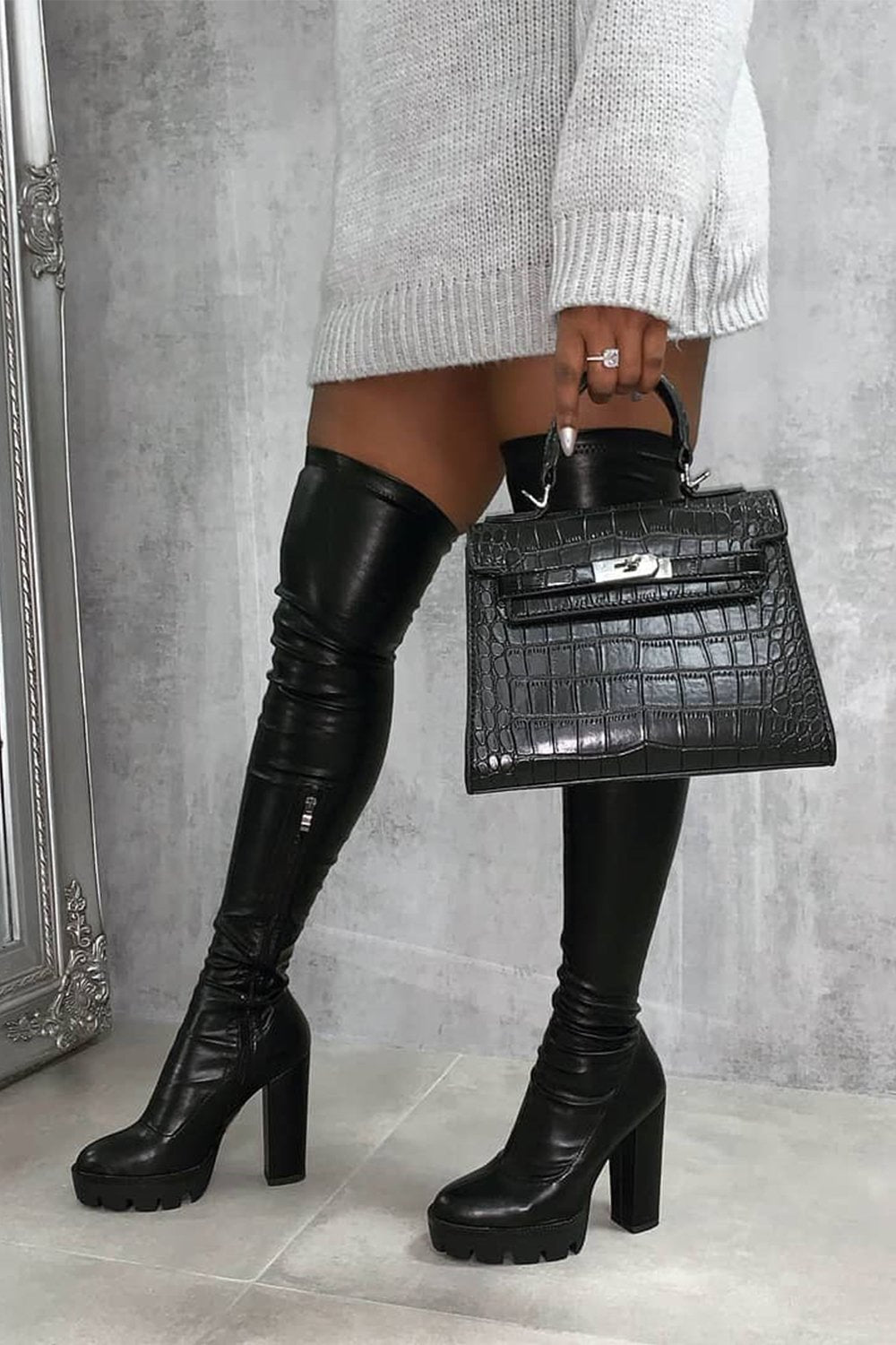 Black Chunky Platform Thigh High Boots