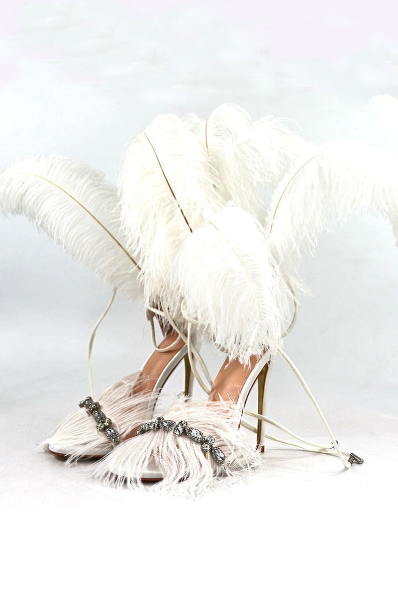 White Feather Rhinestone Embroidered High Heeled Sandals (4095659343931)