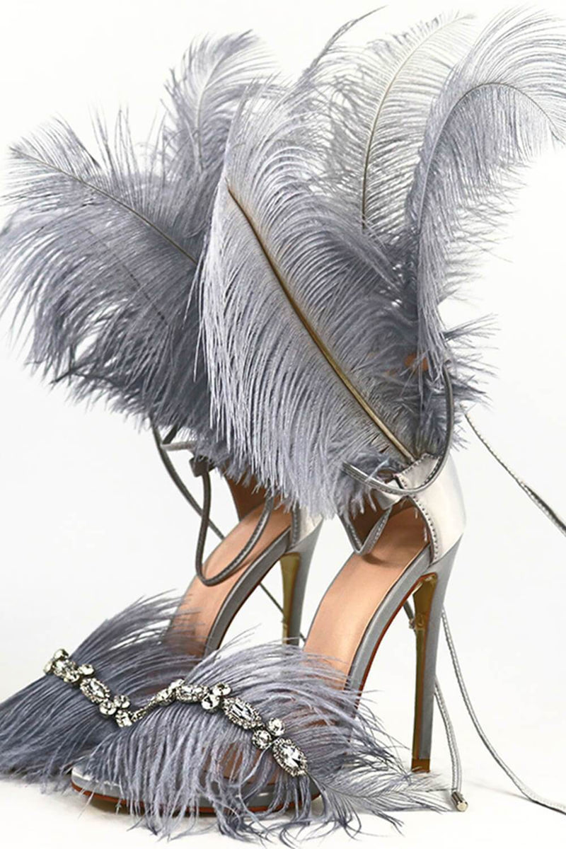 Gray Feather Rhinestone Embroidered High Heeled Sandals (4095659409467)