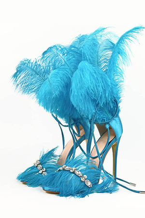 Blue Feather Rhinestone Embroidered High Heeled Sandals (4095659606075)