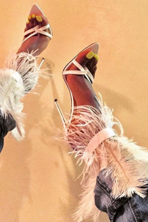 White Feather Strappy Stiletto Sandals (4095659737147)