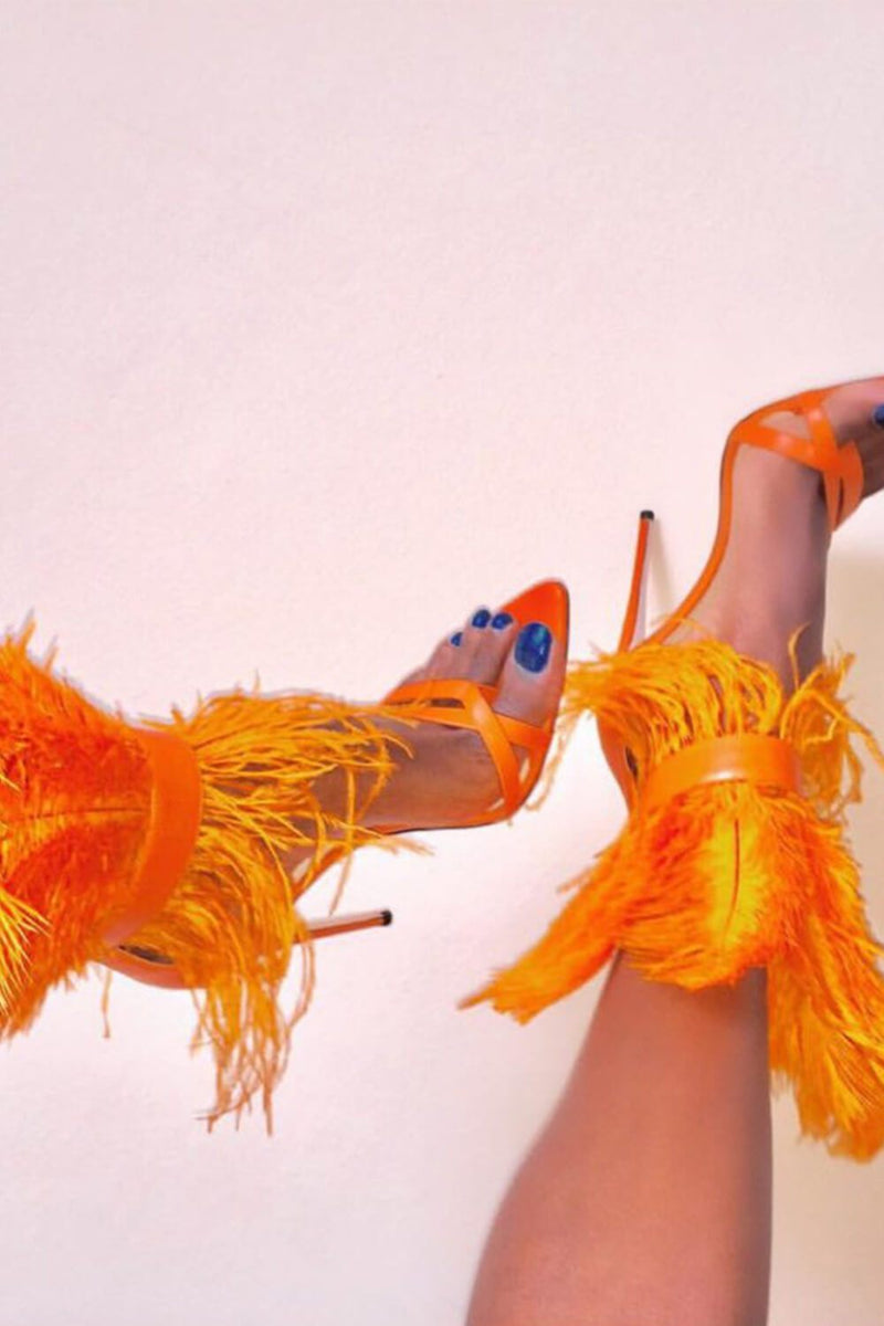 Orange Feather Strappy Stiletto Sandals (4095659835451)