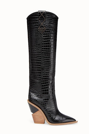 Black Croc Cut-Out Heel Knee High Western Cowboy Boots (4095659933755)