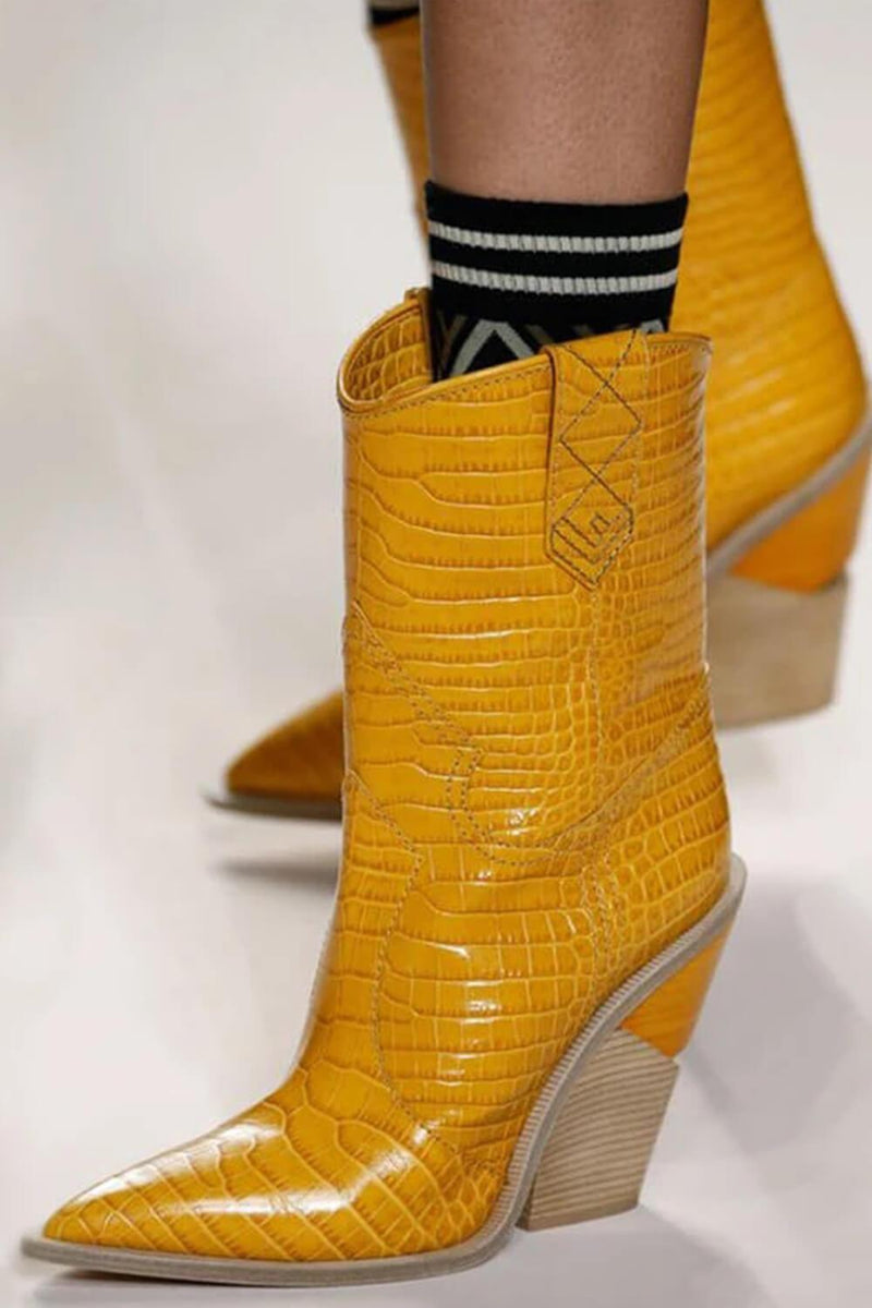 Mustard Croc Cut-Out Heel Mid Western Cowboy Boots (4095659999291)