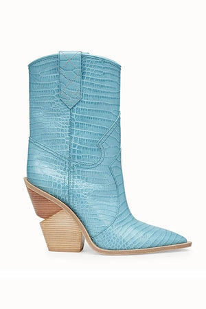 Light Blue Croc Cut-Out Heel Mid Western Cowboy Boots (4095660097595)