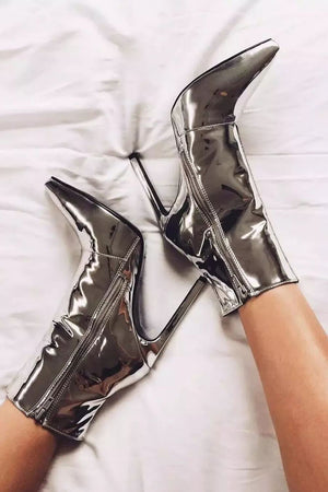 Metallic Silver Pointed Stiletto Heeled Ankle Boots (4095660130363)