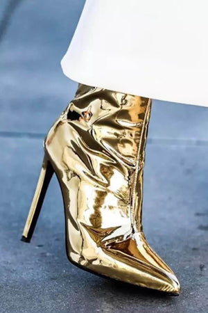 Metallic Gold Pointed Stiletto Heeled Ankle Boots (4095660163131)