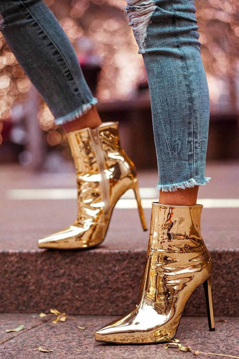 Metallic Gold Pointed Stiletto Heeled Ankle Boots