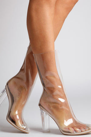 Nude Clear Pointed Heeled Block Boots (4095660195899)