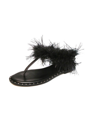 Black Studded Flat Thong Sandals With Feather Details (4095660687419)