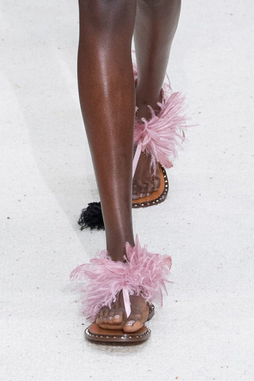 Pink Studded Flat Thong Sandals With Feather Details (4095660752955)