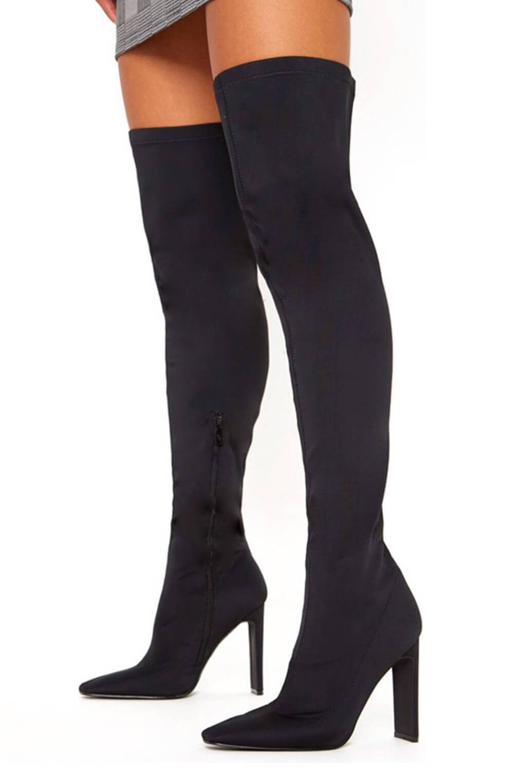 Black Heeled Thigh High Sock Boots (4095660851259)
