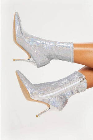 Silver Sequin Sock Boots (4095661047867)