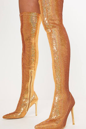 Gold Thigh High Sequin Sock Boots (4095661113403)