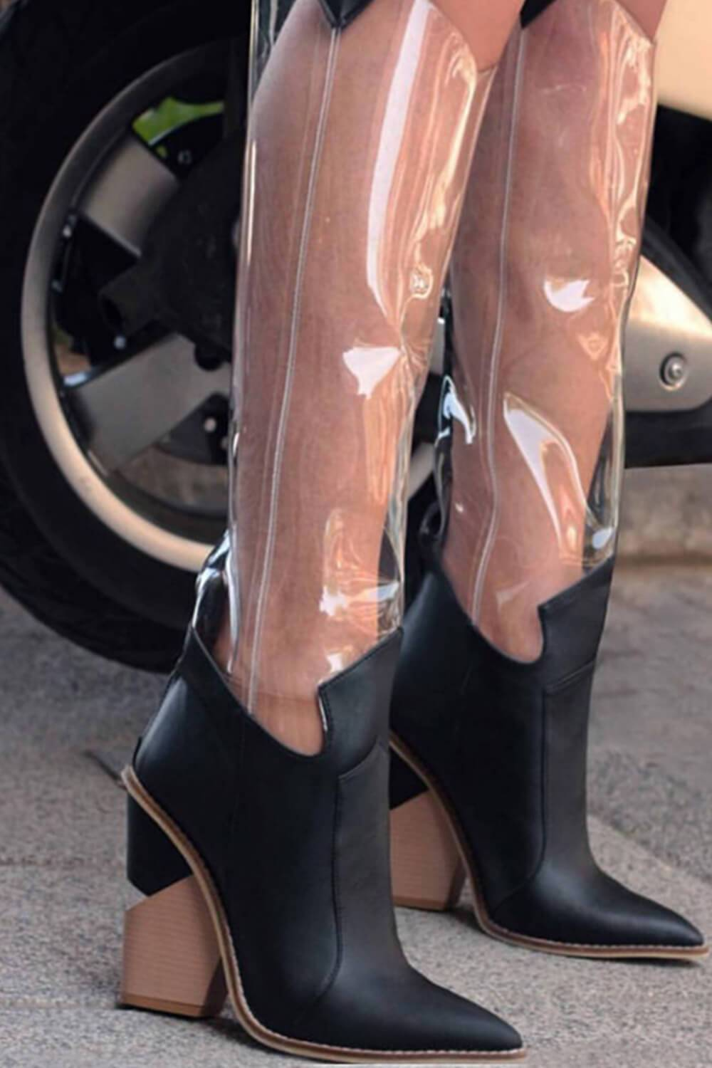 Black Clear Cut-Out Heel Knee High Western Boots (4095661506619)