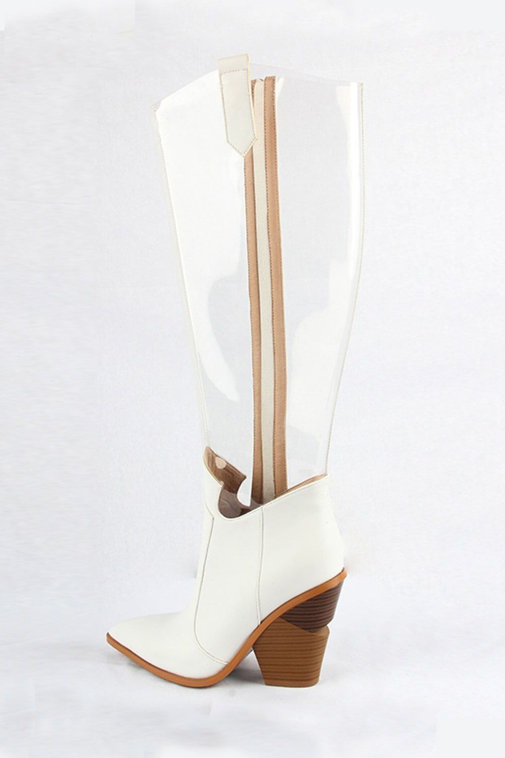 White Clear Cut-Out Heel Knee High Western Boots (4095661572155)