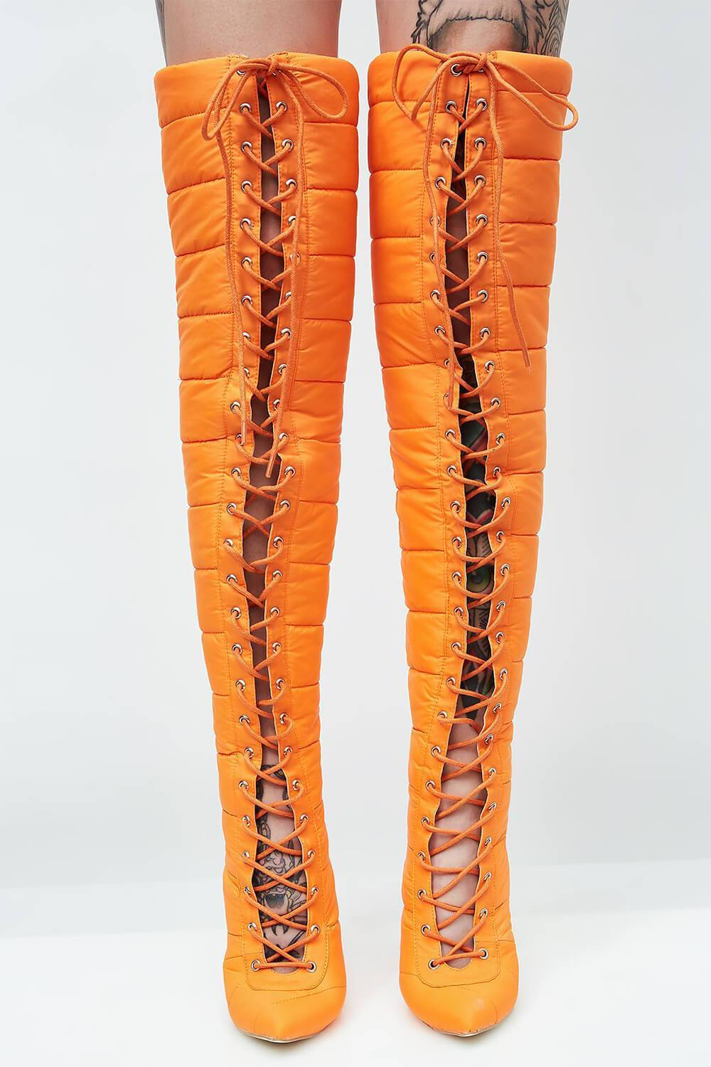 Orange Lace Up Puffer Over The Knee Heeled Boots (4095661637691)