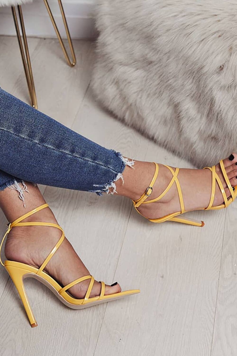 Yellow Strappy Stiletto Sandals (4095661670459)