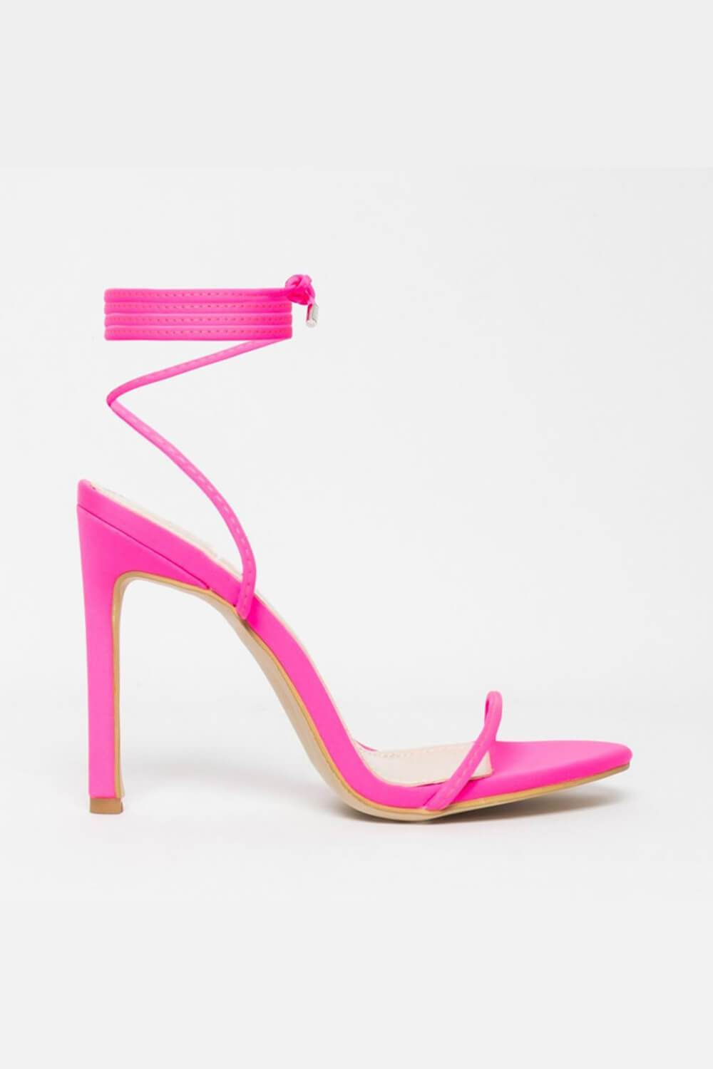 Neon Pink Lace Up Heeled Sandals (4095661735995)