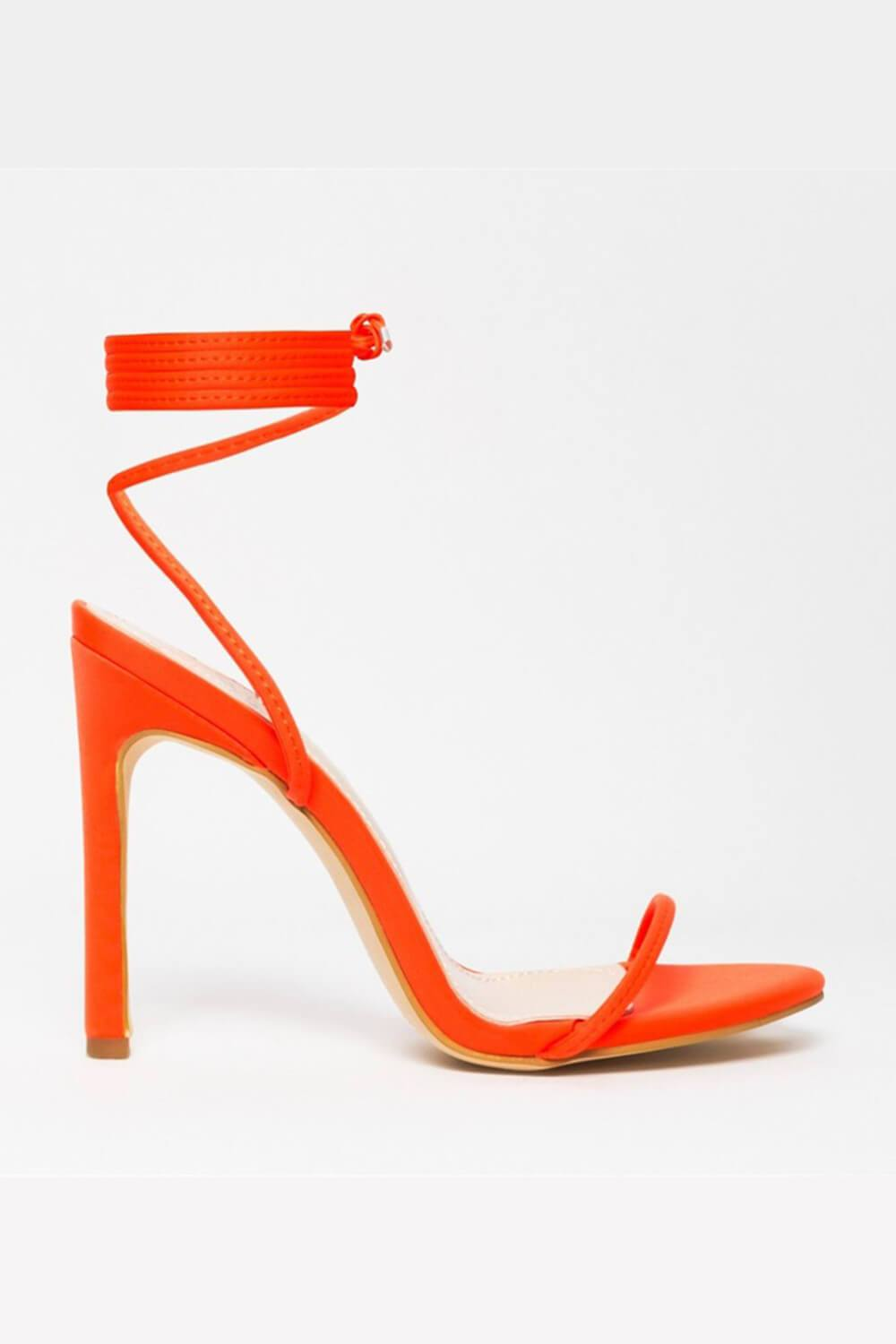 Neon Orange Lace Up Heeled Sandals