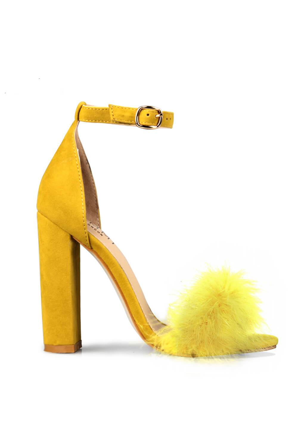Yellow Suede Feather Heeled Block Sandals (4095661998139)