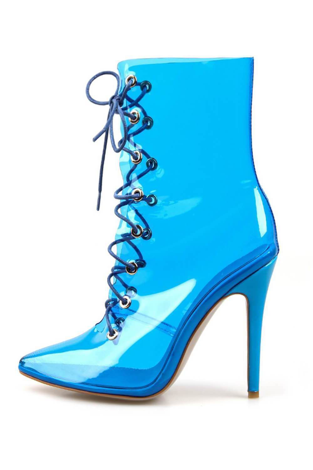 Blue Clear Lace Up Heeled Ankle Boots (4095662391355)