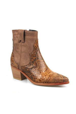 Brown Snake Suede Cowboy Boots (4095662489659)