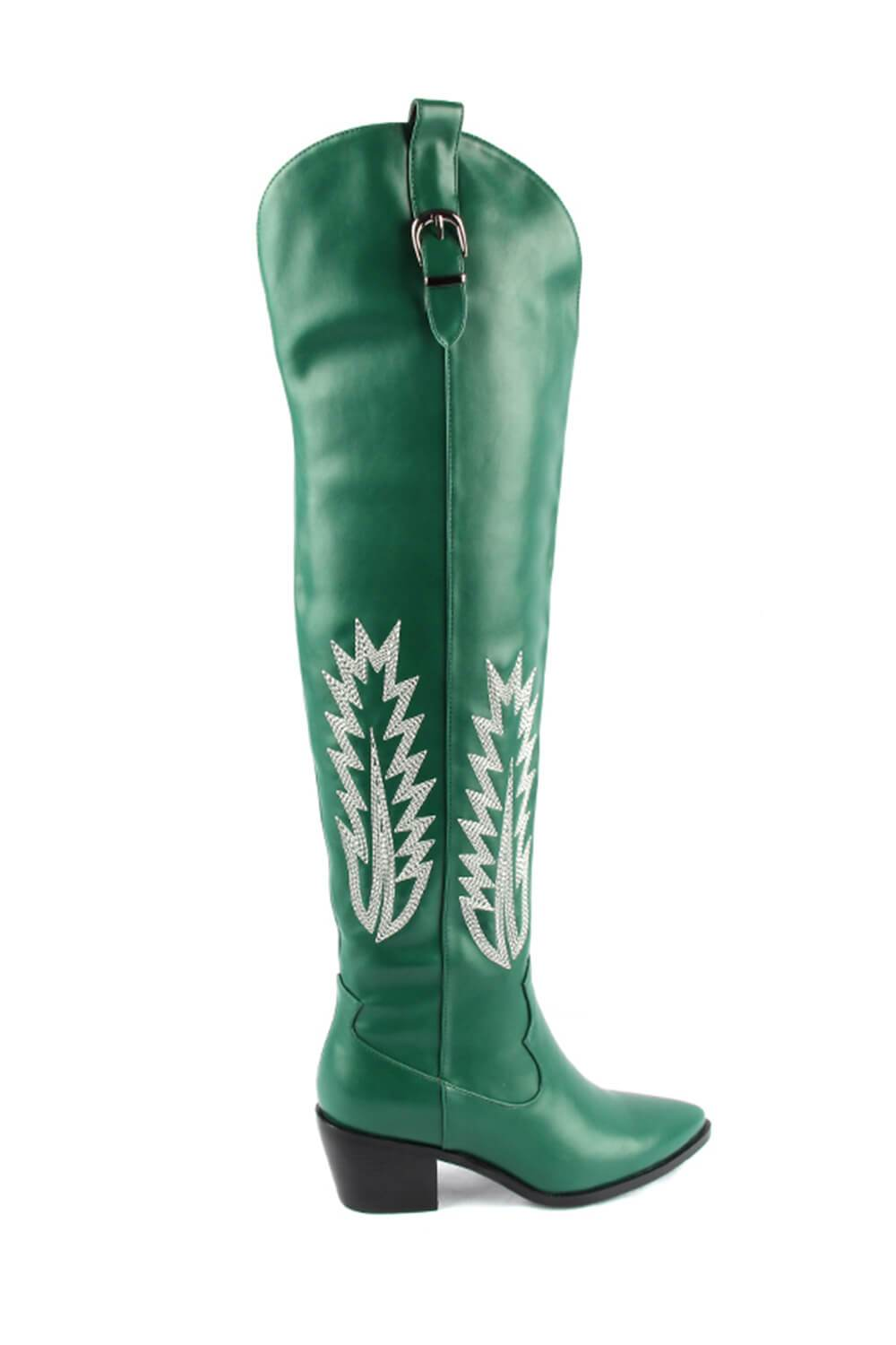 Green Western Knee High Block Heel Boots (4095662751803)
