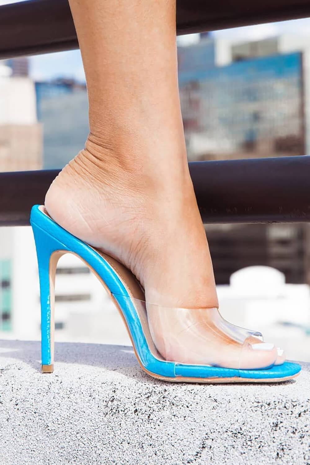 Blue Snake Clear Stiletto Mules (4095662882875)
