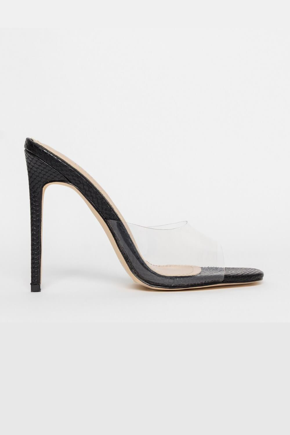 Black Snake Clear Stiletto Mules (4095662948411)
